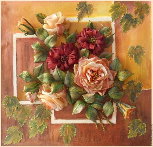Картины цветов ручной работы. Ярмарка Мастеров - ручная работа. Купить Цветочная рапсодия. Handmade. Комбинированный, картина для дома, розы