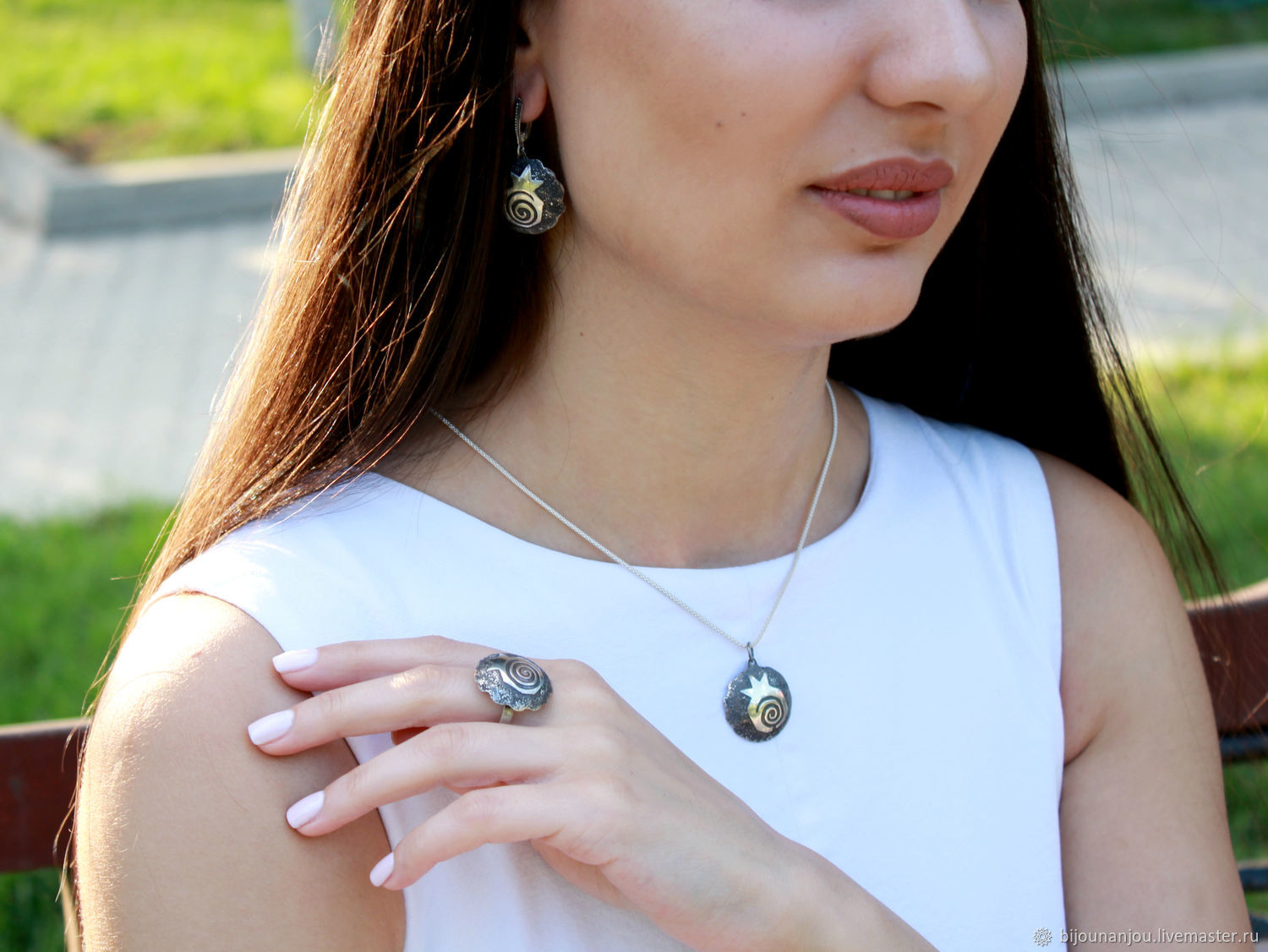 Earrings, ring and pendant Rock garnet made of silver 925 RF0008, Jewelry Sets, Yerevan,  Фото №1