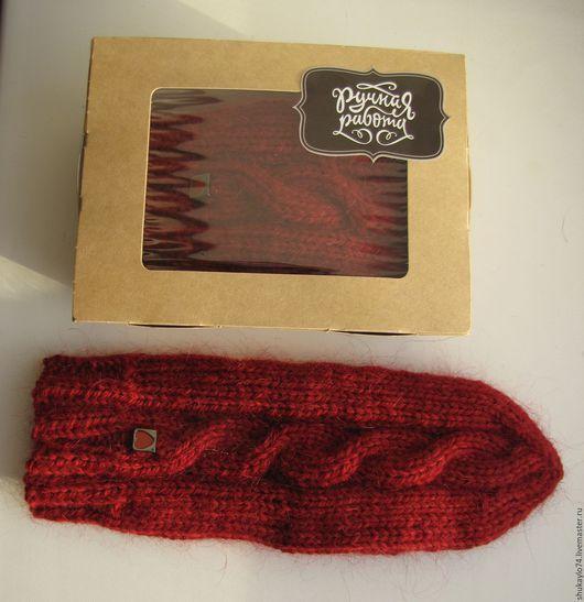 Варежки, митенки, перчатки ручной работы. Ярмарка Мастеров - ручная работа. Купить № 3 Красные варежки с косами. Handmade.