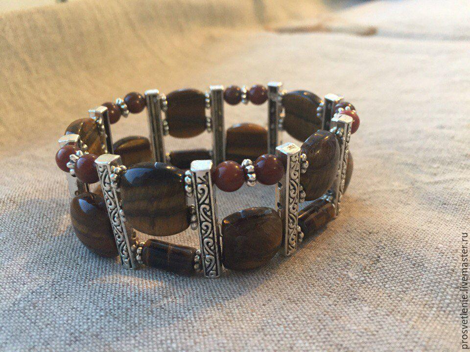 Оригинальный браслет из тигрового глаза купить на Ярмарке Мастеров. Стильный широкий удобный браслет на резинке из, необычный женский браслет, дизайнерский браслет ручной работы из натуральных камней