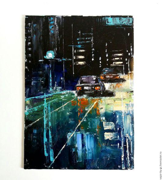 """Город ручной работы. Ярмарка Мастеров - ручная работа. Купить Картина """"Ночной город"""". Handmade. Черный, городской стиль, пейзаж"""