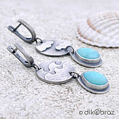 Украшения handmade. Livemaster - original item Earrings Silver Sea Sky Clouds, Amazonite. Handmade.