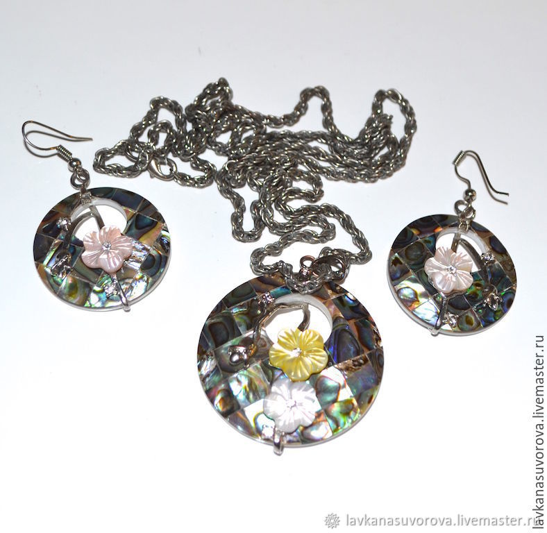 A set of black mother of pearl, Lee Sands, Vintage jewelry sets, Rostov-on-Don,  Фото №1