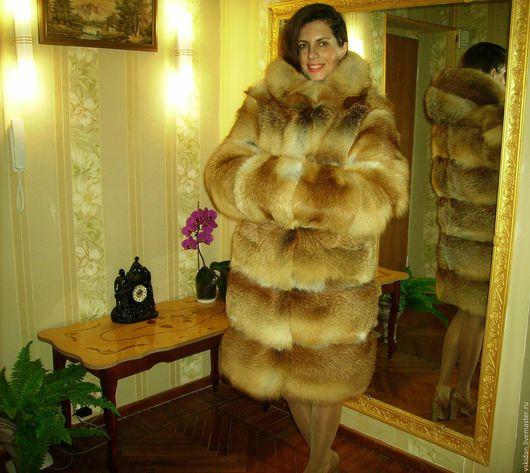 Верхняя одежда ручной работы. Ярмарка Мастеров - ручная работа. Купить Шуба из лисы с капюшоном (поперечка). Handmade. Шуба
