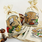 Для дома и интерьера handmade. Livemaster - original item Food bags Fabric bags Embroidered bags for cereals Chef. Handmade.