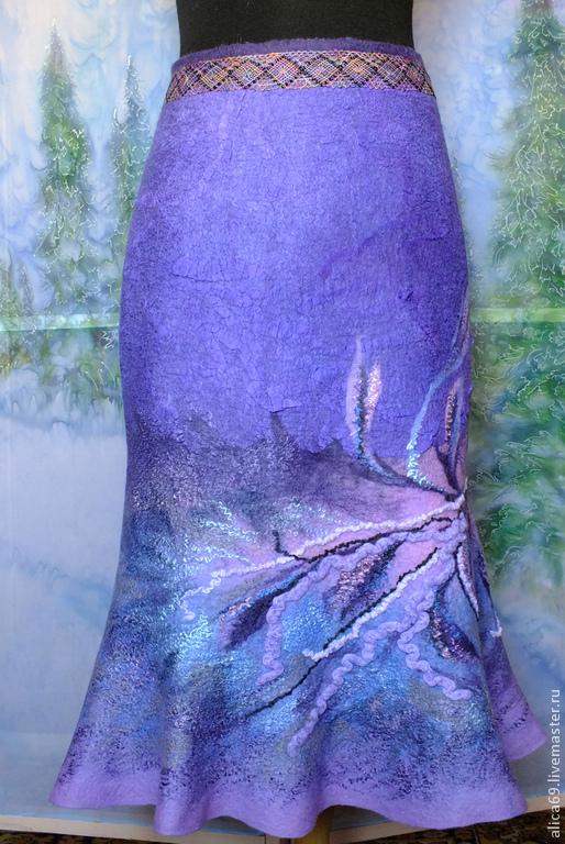 Купить Валяная юбка ..Южный ветер - тёмно-фиолетовый, абстрактный, валяная юбка, юбка-годе