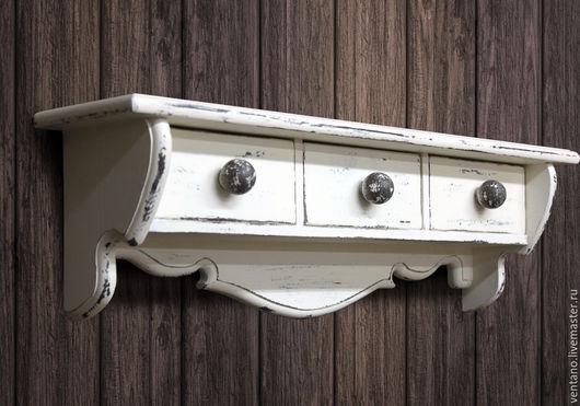 Мебель ручной работы. Ярмарка Мастеров - ручная работа. Купить Полка Шале. Handmade. Белый, потертости, полка из дерева, дизайн