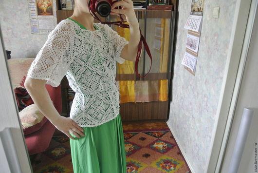 Блузки ручной работы. Ярмарка Мастеров - ручная работа. Купить вязаная блуза. Handmade. Белый, готовая работа, блуза крючком