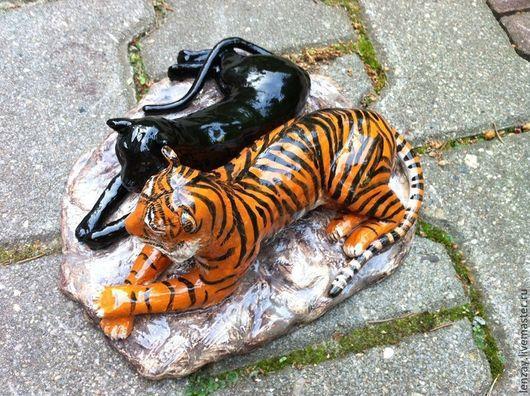 Статуэтки ручной работы. Ярмарка Мастеров - ручная работа. Купить Статуэтка Пантера и Тигр. Handmade. Рыжий, статуэтка, тигры