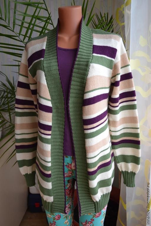 """Кофты и свитера ручной работы. Ярмарка Мастеров - ручная работа. Купить Кардиган """"Веселые полоски"""". Handmade. Разноцветный, полосатый, теплый"""