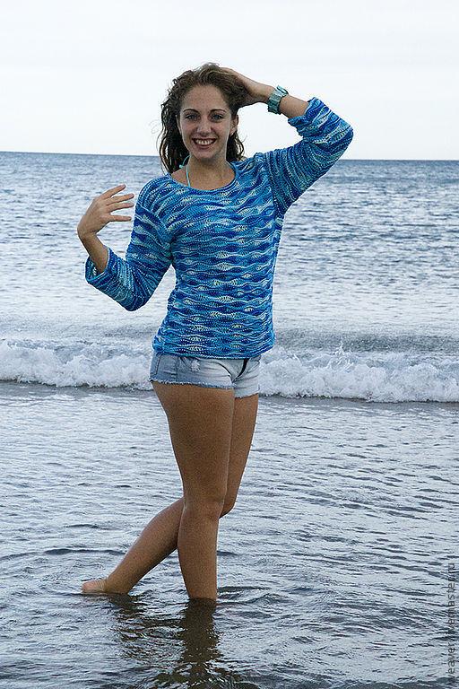 """Кофты и свитера ручной работы. Ярмарка Мастеров - ручная работа. Купить Пуловер """"Волна"""". Handmade. Голубой, романтический стиль"""