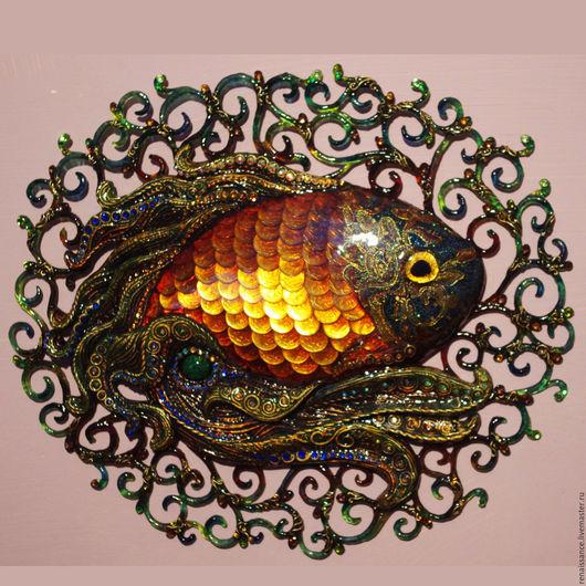 Животные ручной работы. Ярмарка Мастеров - ручная работа. Купить Золотая рыбка (оберег на богатство). Handmade. Золотой, рыба, талисман