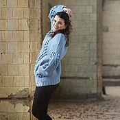 Одежда ручной работы. Ярмарка Мастеров - ручная работа голубой женский свитер. Handmade.