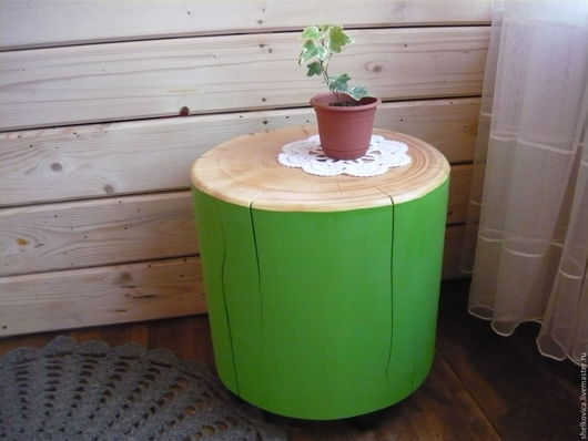 """Мебель ручной работы. Ярмарка Мастеров - ручная работа. Купить Столик из пня кедра """"Весна"""". Handmade. Салатовый, мебель из дерева"""