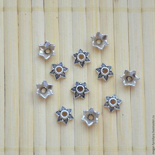Для украшений ручной работы. Ярмарка Мастеров - ручная работа. Купить 10 шт.Шапочки античное серебро 3х7 мм. Handmade.