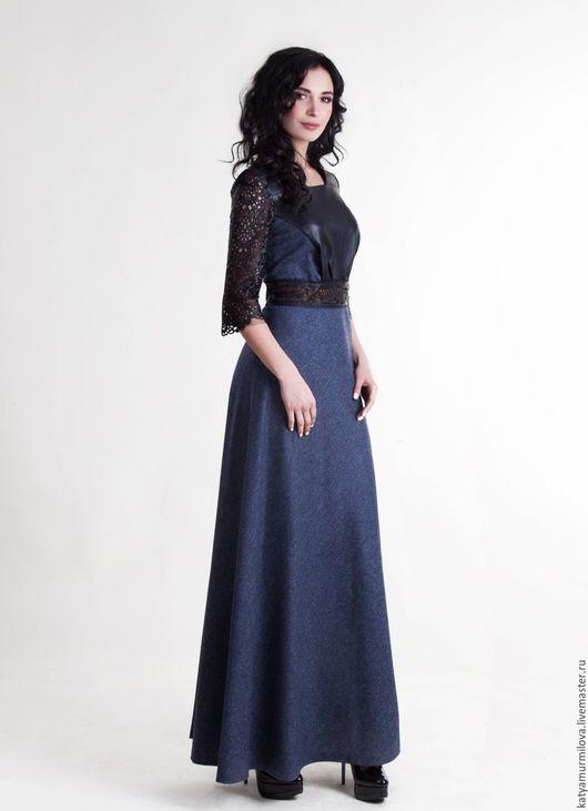 Платья ручной работы. Ярмарка Мастеров - ручная работа. Купить Платье в пол из шерсти  и  натуральной кожи. Handmade. Тёмно-синий