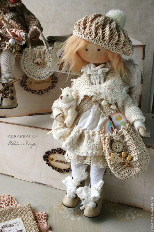 Текстильные куклы. Текстильная кукла. Коллекционный ангел. Художник.Акварель