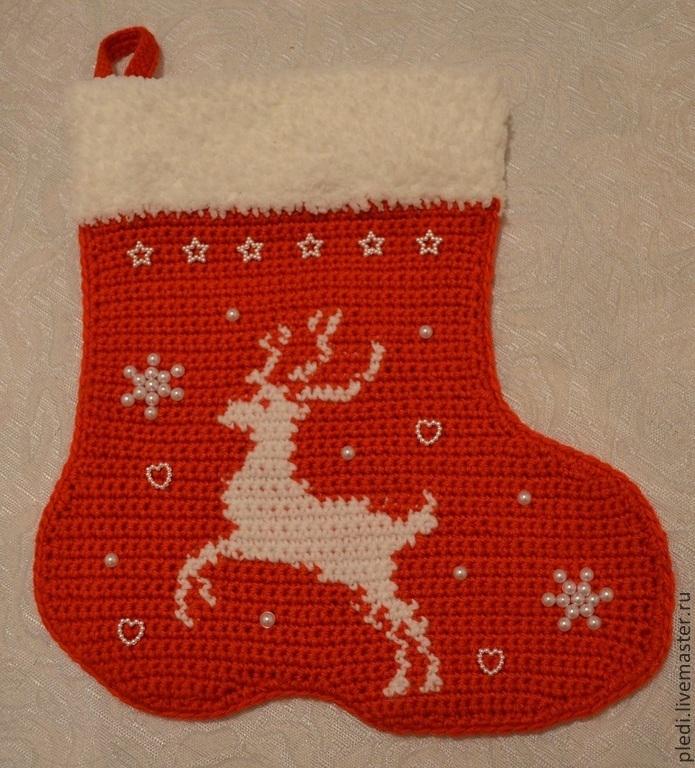 Red Christmas boot, Christmas sock, Moscow,  Фото №1