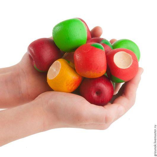 """Развивающие игрушки ручной работы. Ярмарка Мастеров - ручная работа. Купить Счетный материал """"12 яблочек - 4 сорта"""" в льняном мешочке. Handmade."""