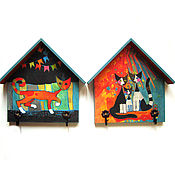 """Для дома и интерьера ручной работы. Ярмарка Мастеров - ручная работа Ключница/вешалка """"Праздничный вечер"""". Handmade."""