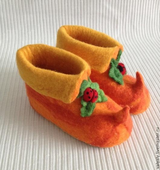 """Обувь ручной работы. Ярмарка Мастеров - ручная работа. Купить детские валеночки """"тыковки"""". Handmade. Оранжевый, обувь для детей"""