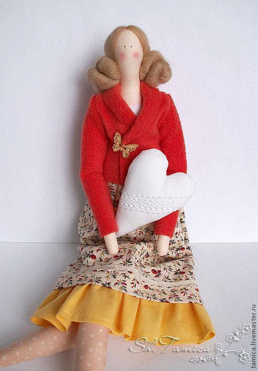 Куклы Тильды ручной работы. Ярмарка Мастеров - ручная работа. Купить Тильда Элис. Handmade. Оранжевый, украшение для интерьера, флис