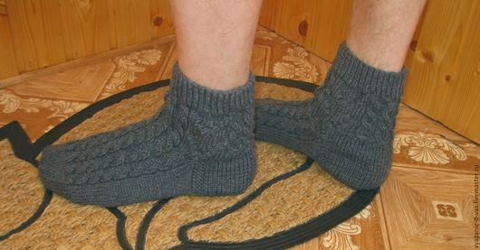Носки, Чулки ручной работы. Ярмарка Мастеров - ручная работа. Купить Носки вязаные мужские серые. Handmade. Носки