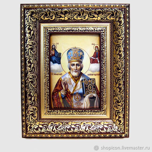 Икона финифть Николай Чудотворец, Иконы, Москва,  Фото №1