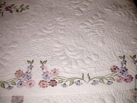 """Текстиль, ковры ручной работы. Ярмарка Мастеров - ручная работа. Купить Лоскутное покрывало """"Цветы на белом"""". Handmade. Белый"""