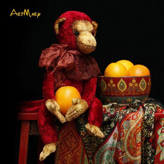Мишки Тедди ручной работы. Ярмарка Мастеров - ручная работа. Купить Апельсинка. Handmade. Ярко-красный, обезьянка тедди, artmary