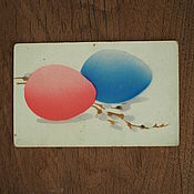 Винтаж handmade. Livemaster - original item Easter card willow and eggs. Handmade.