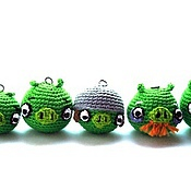 Куклы и игрушки ручной работы. Ярмарка Мастеров - ручная работа Брелоки Bad Piggies (набор из 6 свинок). Handmade.