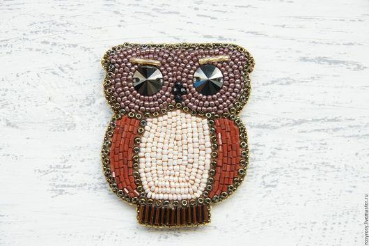 Броши ручной работы. Ярмарка Мастеров - ручная работа. Купить Сова Брошь Птичка Брошка из бисера 'Lil' Owl' Brown. Handmade.