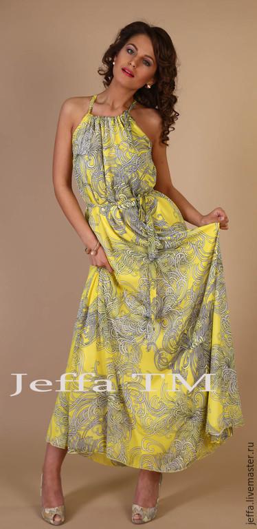 Платья ручной работы. Ярмарка Мастеров - ручная работа. Купить Платье из шифона Солнечная долина арт.5315. Handmade. Желтый