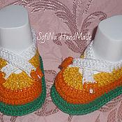 Материалы для творчества ручной работы. Ярмарка Мастеров - ручная работа Мастер - класс по вязанию туфелек для малышей. Handmade.