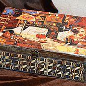 """Для дома и интерьера ручной работы. Ярмарка Мастеров - ручная работа Шкатулка для рукоделия большая """"Мэгги-рукодельница"""", подарок женщине. Handmade."""