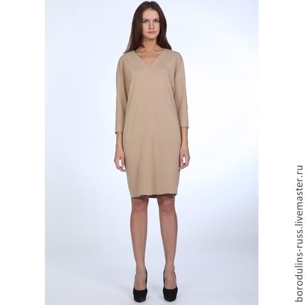 Платье пудровое до колен