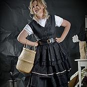 Одежда ручной работы. Ярмарка Мастеров - ручная работа Платье-сарафан из чёрного льна с аппликацией. Городской Бохо. Handmade.