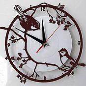Для дома и интерьера ручной работы. Ярмарка Мастеров - ручная работа Часы Воробьи на сакуре. Handmade.