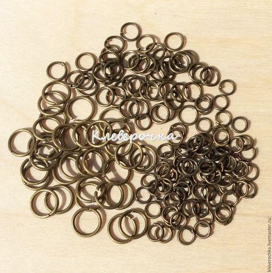 Для украшений ручной работы. Ярмарка Мастеров - ручная работа. Купить ..Колечки 50 шт/2 размера одинарные цвет латунь(бронза) соединительные. Handmade.