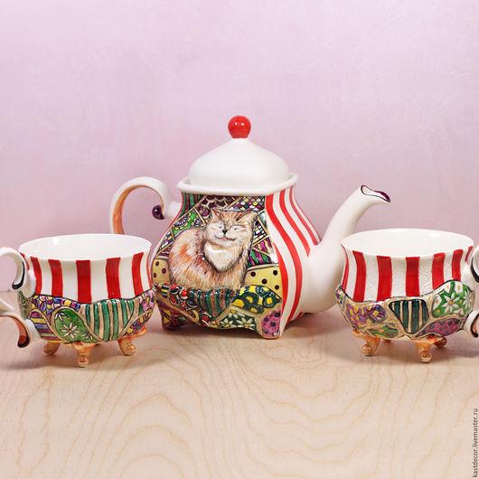 """Сервизы, чайные пары ручной работы. Ярмарка Мастеров - ручная работа. Купить Сервиз чайный фарфоровый """"Кот"""". Handmade. Сервиз"""