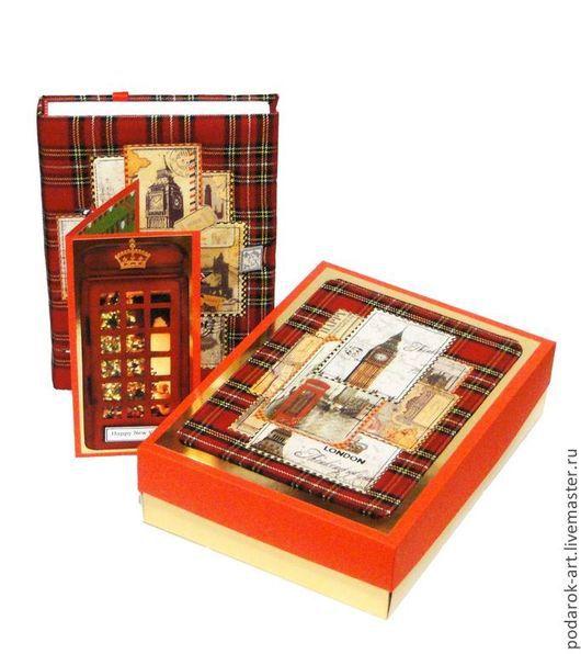 Ежедневники ручной работы. Ярмарка Мастеров - ручная работа. Купить Подарочный набор Английское трио. Handmade. Ярко-красный, англия