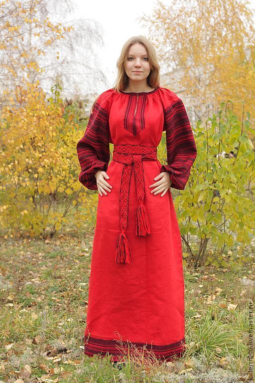 """Одежда ручной работы. Ярмарка Мастеров - ручная работа. Купить Платье """"Этно"""" красное. Handmade. Ярко-красный, русский стиль"""