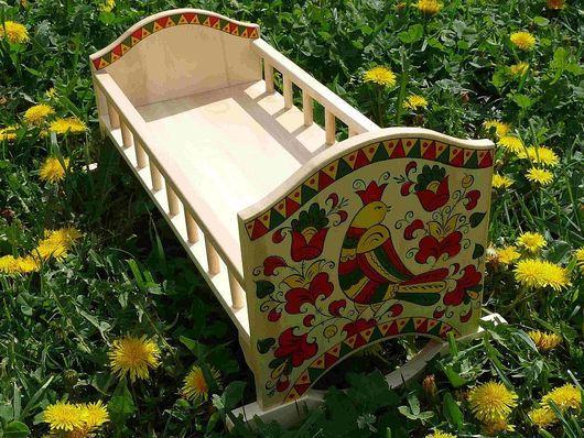 Кукольный дом ручной работы. Ярмарка Мастеров - ручная работа. Купить Кроватка для куклы. Handmade. Кукольная кровать, северная роспись