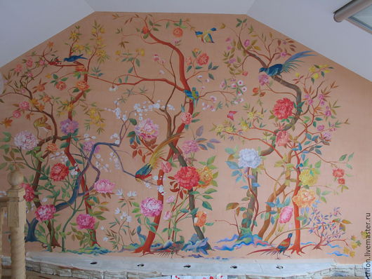 """Декор поверхностей ручной работы. Ярмарка Мастеров - ручная работа. Купить """"Райский сад"""" роспись на стене. Handmade. Акрил, цветы"""