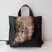 Рюкзаки ручной работы. Ярмарка Мастеров - ручная работа В наличии.Рюкзак сумка кожаный с гравировкой и росписью.. Handmade.