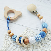 Одежда handmade. Livemaster - original item Teether-teething toy with a bear on the blue-and-white holder. Handmade.