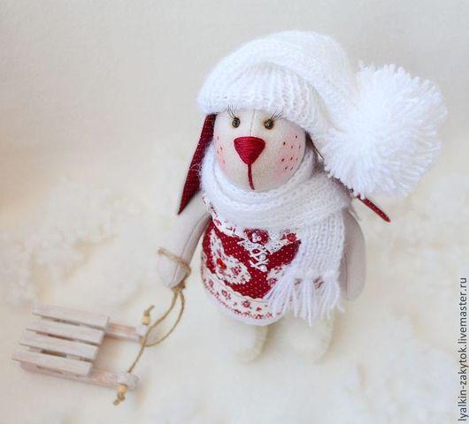 Игрушки животные, ручной работы. Ярмарка Мастеров - ручная работа. Купить Зимняя зайка. Тильда заяц. Handmade. Бордовый, гипюр