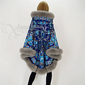 """Одежда ручной работы. Ярмарка Мастеров - ручная работа Пальто-пончо с отстёгивающимся капюшоном """"Признание-5"""" с мехом песца. Handmade."""