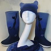 """Обувь ручной работы. Ярмарка Мастеров - ручная работа Сапожки и шапка комплект валяный """"Я -кошка"""". Handmade."""